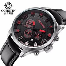 f0f3a98cbf4 OCHSTIN Brand Fashion Casual Man Male Chronograph Clock Military Army Sport  Leater Strap Luxury Wrist Quartz