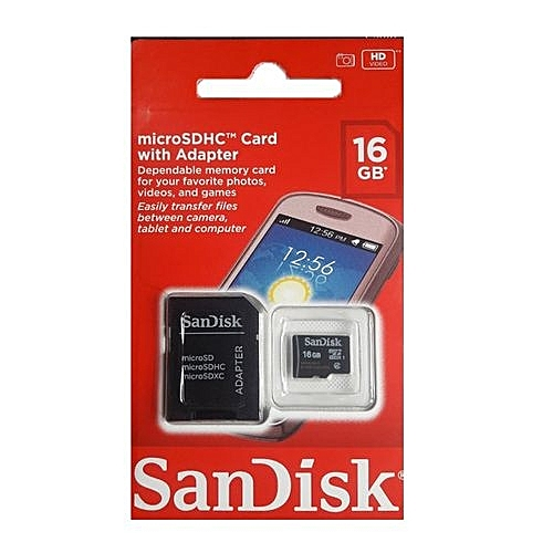 16GB Micro SDHC Memory Card + Adapter