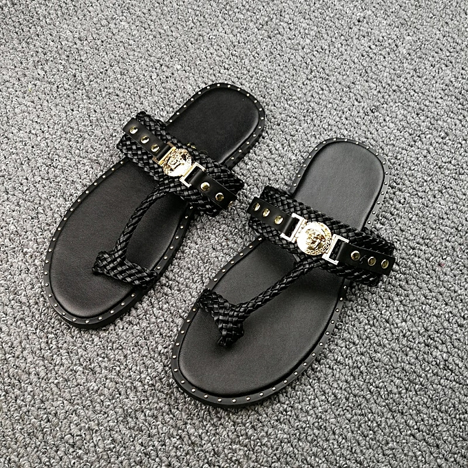 b87bdc5d371743 ... New Leisure Male Sandals Comfortable Summer Leather Slippers Men Size  38-46 Black ...