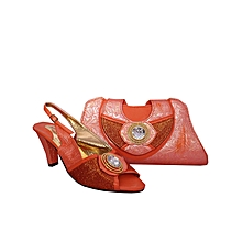 02fe6c9666a Ladies Low Heel Shoe And Bag Set With Bow Detail - Orange