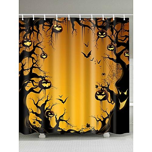 Halloween Trees Pumpkin Print Waterproof Fabric Shower Curtain