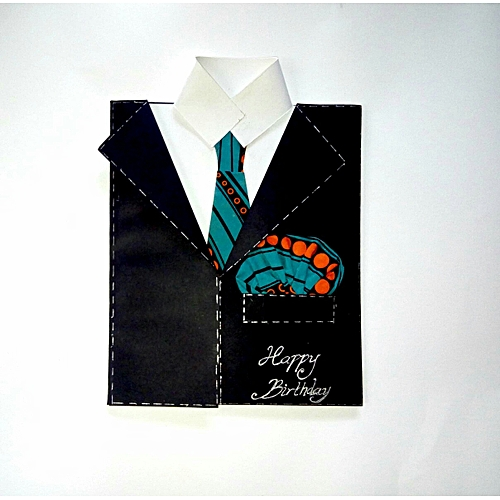 Handmade Men's Blazer Suit And Shirt With Africa Print Tie And Pocket Handkerchief Birthday Greeting Card - Black