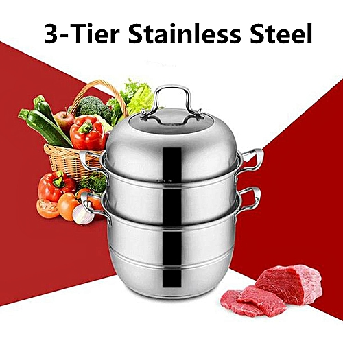 Stainless Steel 3 Tier Steamer Steam Pot Cookware [28cm]