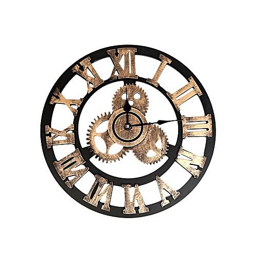 Large Wall Clock Industrial Style Vintage Clock European Steampunk Gear Wall Home Decoration Modern Design 3d Wall Clock 2019 SLS