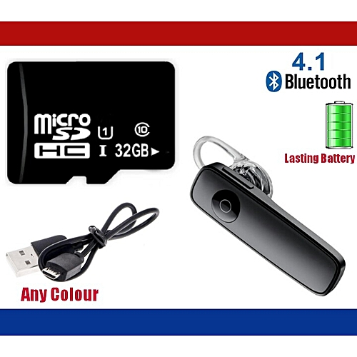 32GB Memory Card + Wireless Bluetooth Headset V4.1