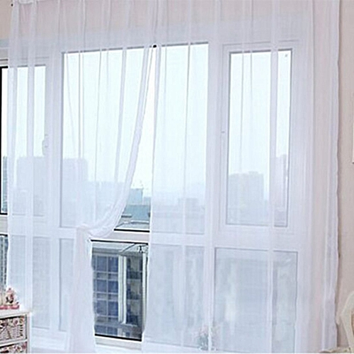 CO Solid Color Tulle Translucent Window Curtain Drape Panel Sheer Scarf Valances-white