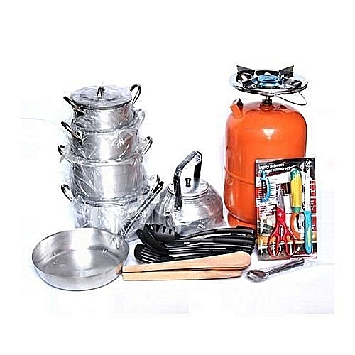 Economy Kitchen Bundle- 4 Set Pots, 1 Kettle, 1 Frying Pan, 1 Set Non-stick Frying Spoon, 1 Small Knife Set, 1 Set Of Table Spoon And 5kg Gas Cylinder(CYLINDER MAY COME IN ANY COLOUR)