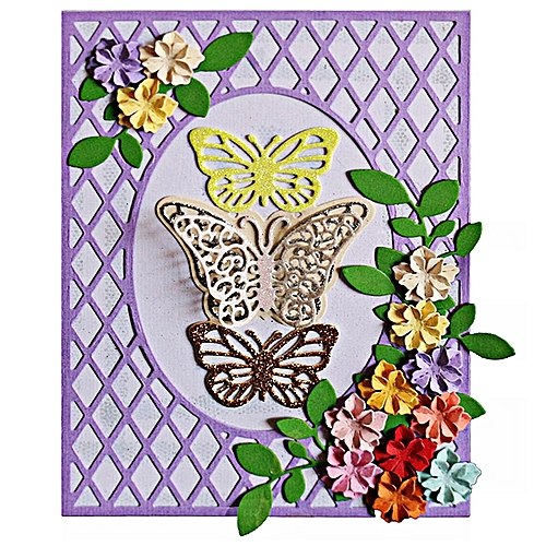 Grid Butterfly Rectangular Frame Metal Cutting Dies For Greeting Card Cover