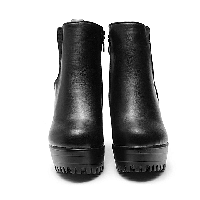 66f94f916b ... WOMENS LADIES CHELSEA ANKLE BOOTS CHUNKY PLATFORMS BLOCK HIGH HEELS  ZIPPER SHOES ...