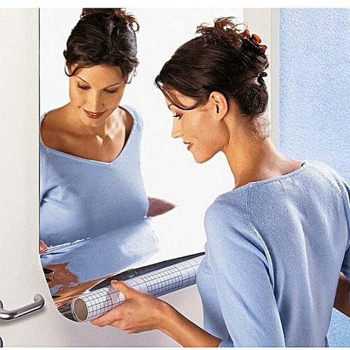 Mirror Wall Sticker Rectangle Self Adhesive Room Decor Stick On Art-Silver