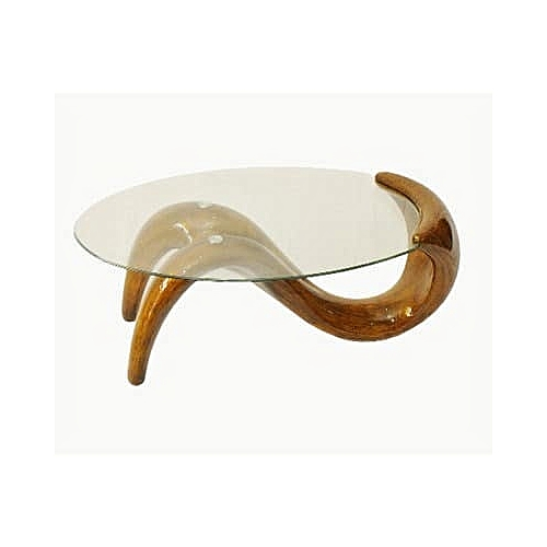 Gold Spiral Glass Top Centre Table