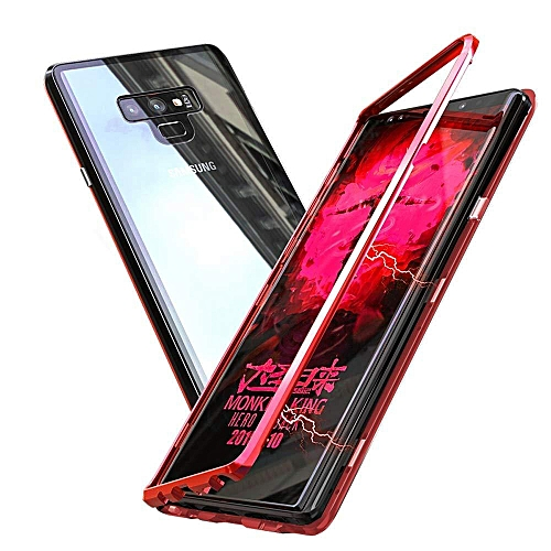 Galaxy Note 9 Case,Ultra Slim Hybrid Aluminum Metal Bumper Frame With Tempered Glass Back 2 In 1 Magnetic Adsorption Case Cover For Samsung Galaxy Note 9 790679 C-1 (Color:Main Picture)