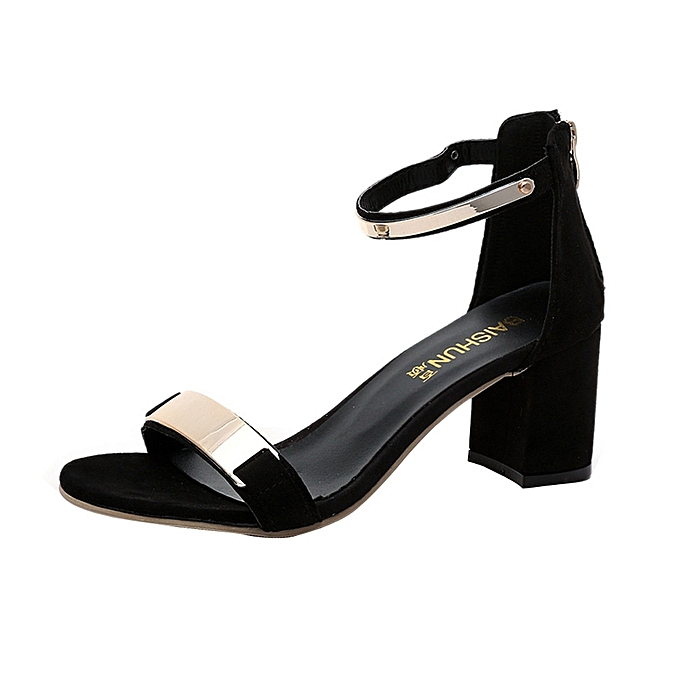 5a56376ef Summer Sandals Open Toe Women Sandles Thick Heel Shoes Gladiator Shoes-Black  (EU Sizing