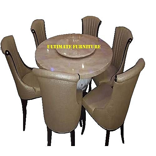 Italian Round Marble Dinnin With 6 Chairs