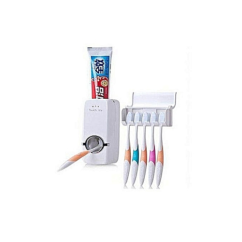 Toothpaste Dispenser And Toothbrush Holder- White
