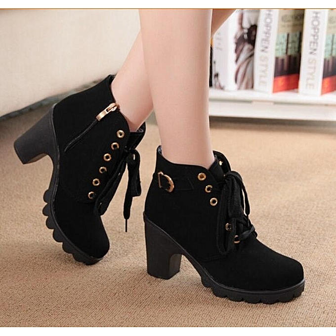 de1f9852fdb Womens Platform Chunky High Heel Fur Lace Up Motorcycle Martin Ankle Boots  Shoes Black
