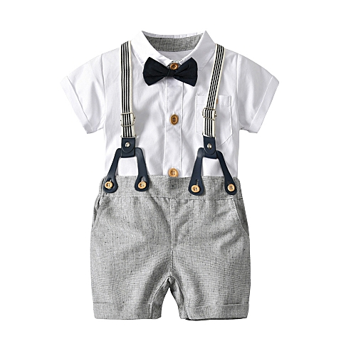 6b47ae76 Fashion Baby Outfit Toddler Baby Boys Summer Gentleman Bowtie Short Sleeve  Shirt+Overall Shorts Sets-White