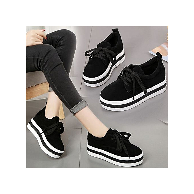 858640ad79b104 Fashion Women s Lace Up Sneakers - Black