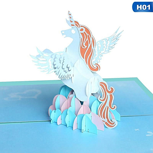 Cute Unicorn 3D Laser Cut Special Paper Pop Up Card With Blank Envelope Greeting Cards Stationery Set