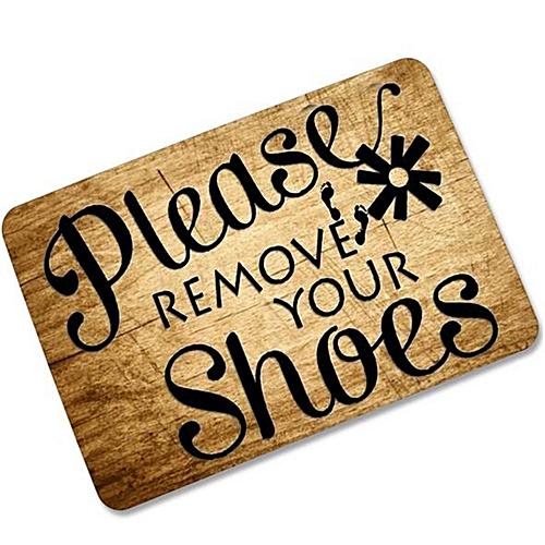 Please Remove Your Shoes Doormat Rubber Indoor/Outdoor Home Floor Mat Non Slip