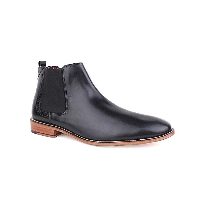 5198d12a08680 Base London Mens leather Chelsea Boot Brogue Shoe-Black | Jumia.com.ng