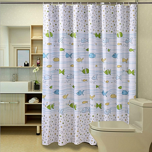 180x180cm Small Bubble Fish Bathroom Shower Curtain Waterproof Anti-mildew With 12 Hooks