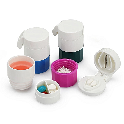 Honana HN-PB009 3 In 1 Portable Pill Case Cutter Crusher 4 Layers Travel Pill Medicine Box