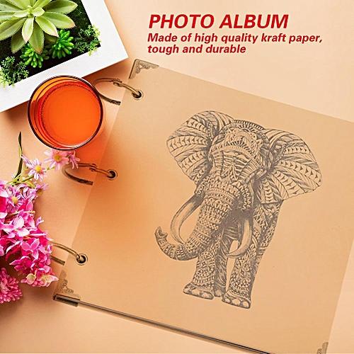 DIY Vintage Photo Album Picture Holder Storage Paste Type Elephant Pattern