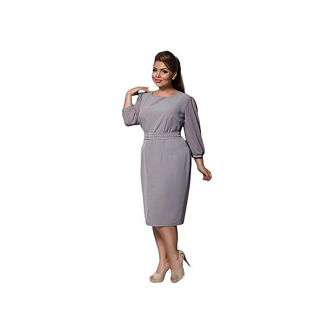 Buy Plus Size Work Dress 2017 Summer Peplum Ruched Office Dresses ...
