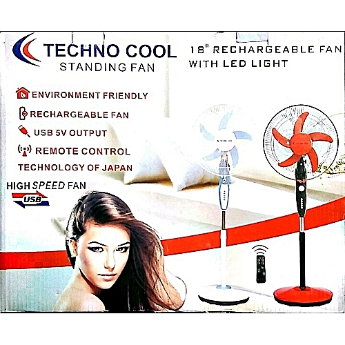 "18"" Rechargable Fan With Remote Control, Led Light And USB Port"