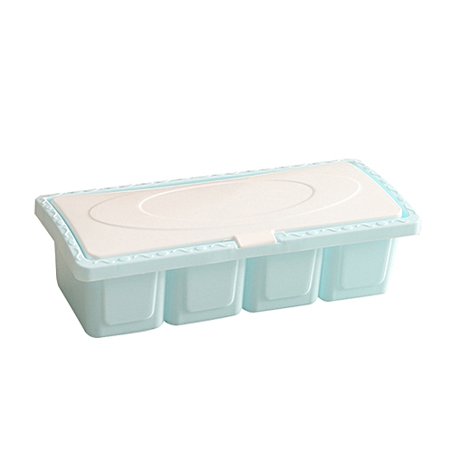 4 Grid Seasoning Box Condiment Spice Storage Case Holder Kitchen Tool With Spoon-Blue