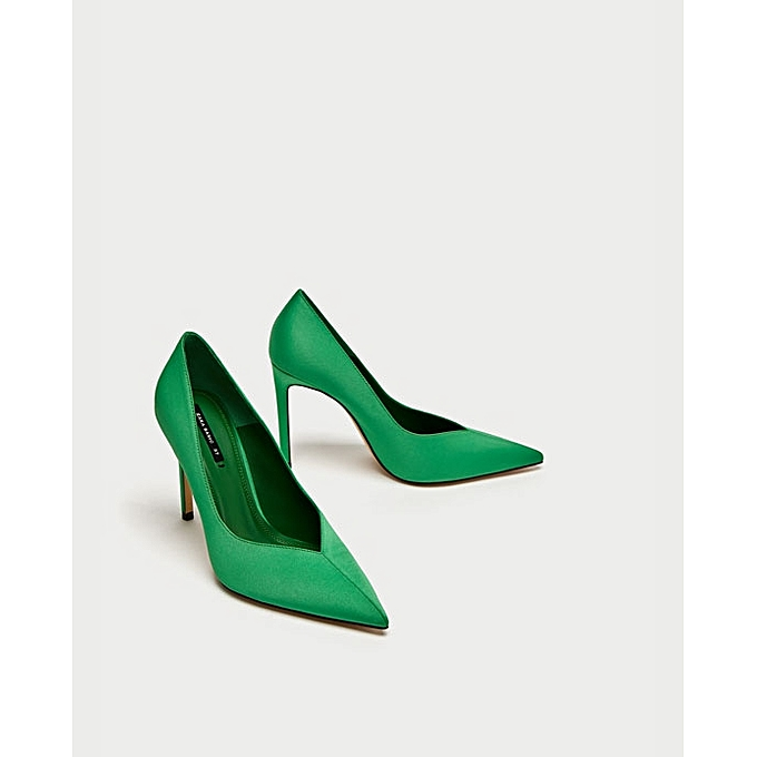 bc28860a103 Zara Green V Vamp High Heel Court Shoes
