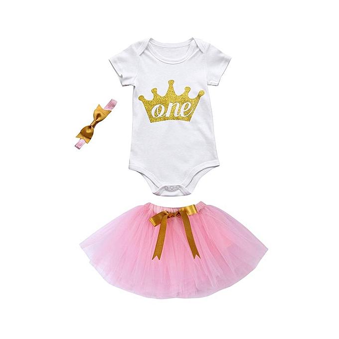 bb077560a0b86 3Pcs Baby Girls Birthday Party Outfits Clothes Romper+Tutu Skirt Princess  Dress +Headband Set Musiccool