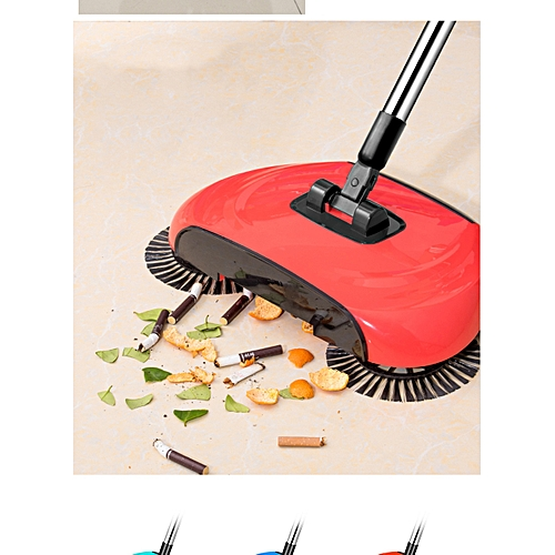 Superb 3-in-1 360 Degree Rotating Hand Push Sweeper Broom -Red