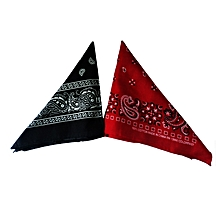 Bandana Scarf, Pocket Square - Black And Red