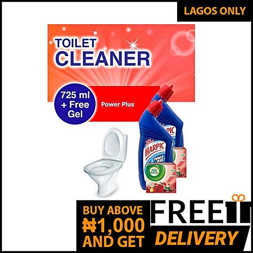 Toilet Cleaner: Power Plus 725ml + FREE AirWick Drummer Gel - Pack Of 2