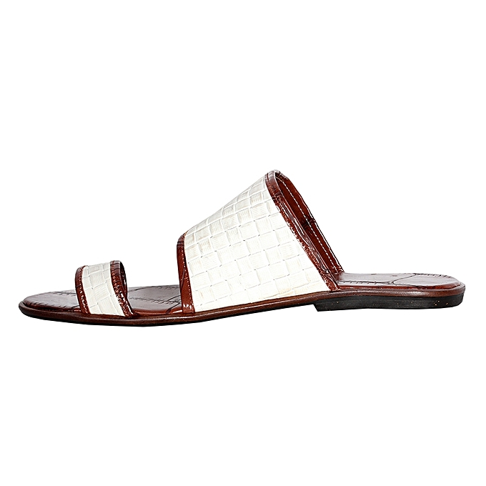 9f519d1ae706 Fashion Classy Palm Slippers - White Brown