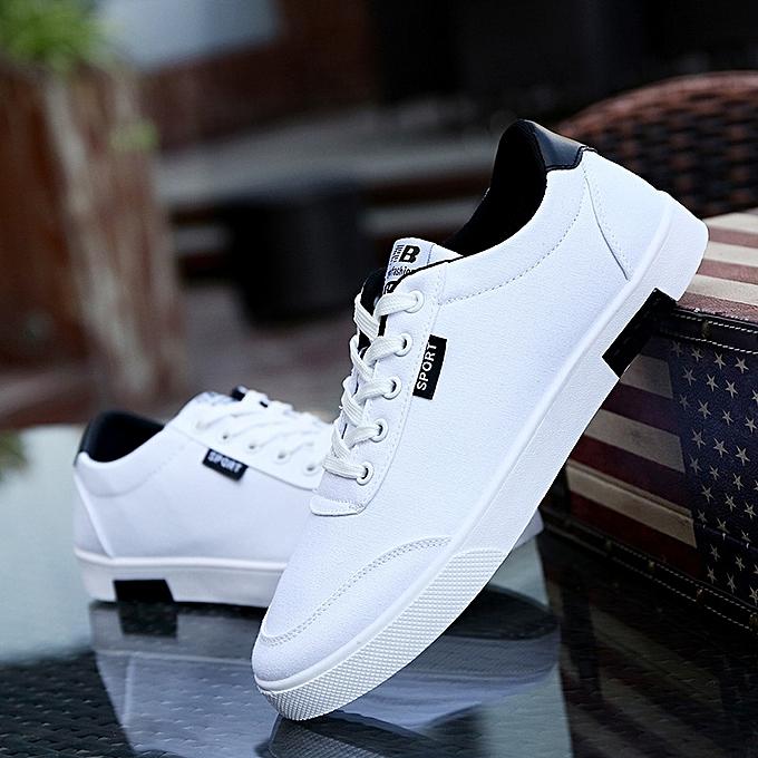 87ef49d6e1a 2018 Men s White Canvas Shoes Lace Student Shoes Wild Skateboard Shoes  Casual Shoes Trend Low Men s ...