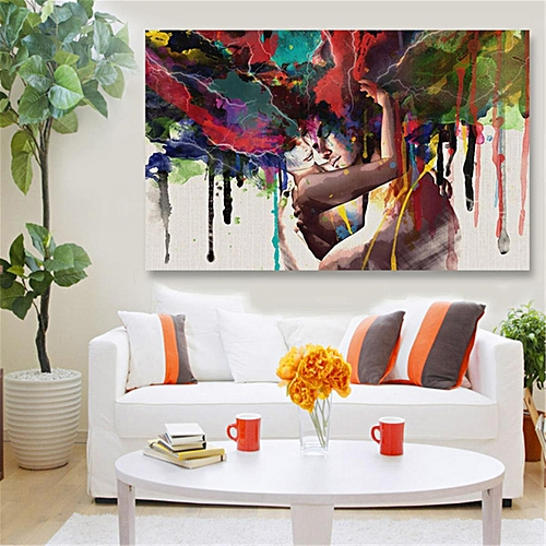 45x30cm Abstract Couple Canvas Painting Print Art Picture Home Wall Decor Framed