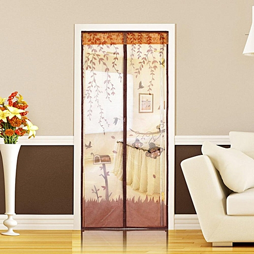 Magnetic Mesh Screen Door Mosquito Net Curtain Protect From Insects Coffee