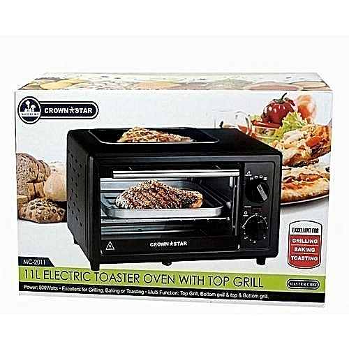 MASTERCHEF Electric Oven For Toasting+Baking+Grilling - 11Ltr