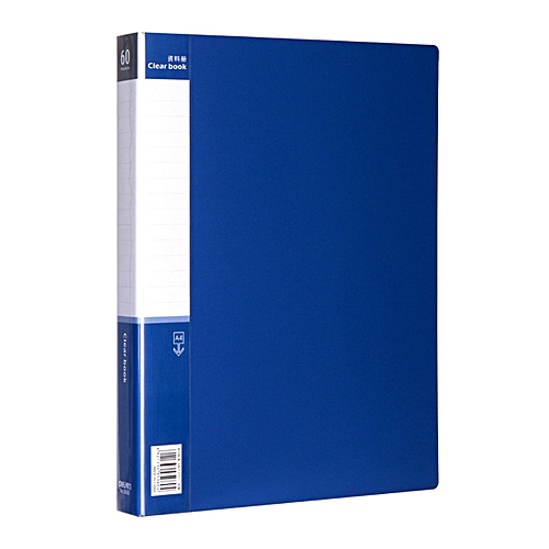 Deli Deli 5240 Data Book A4 File Folder Practical Document Bag 60 Transparent Pages-blue