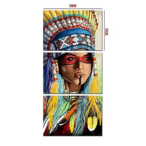 3Pcs American Indian Oil Painting Decoration Feather None Frame Canvas Prints