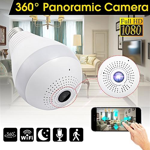 Panoramic 1080P Bulb Hidden IR Camera 3 LED Light Wifi Motion Detection App Ctrl
