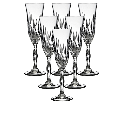 RCR Fire Champagne Flute (Set Of 6)- Silver
