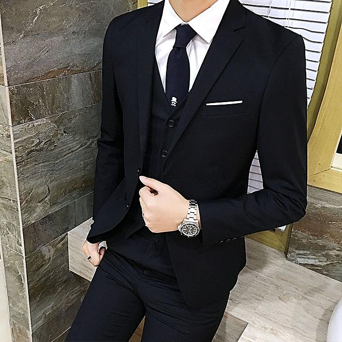 d9097cc36 Fashion Male 3 Piece Suit Set Mens Commercial Formal Slim Suits ...