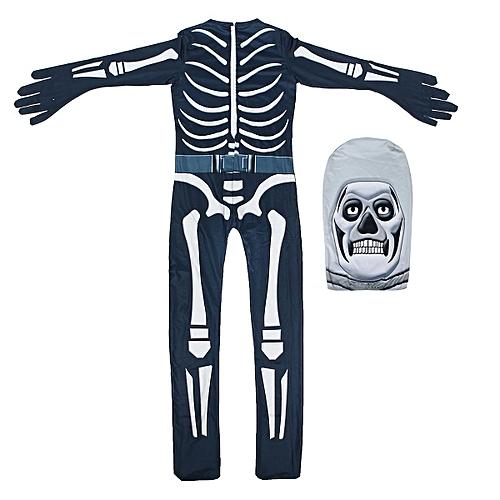 120cm Cosplay Game Fortnite Skull Trooper Costume Halloween Zentai Jumpsuit  Bodysuit