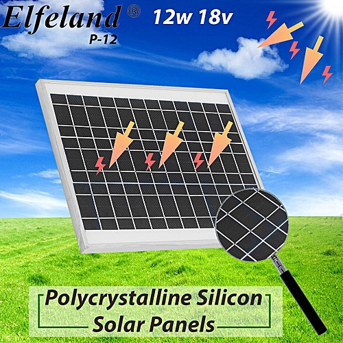 Elfeland 15W 18V Polycrystalline Silicon Solar Panel Caravan Charging Battery