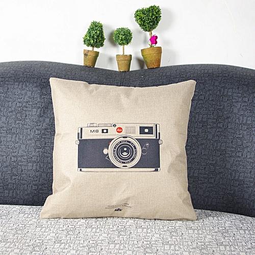 Houseworkhu Throw Sofa Home Decor Pillow Case Cotton Linen Cushion Cover Camera New -As Shown