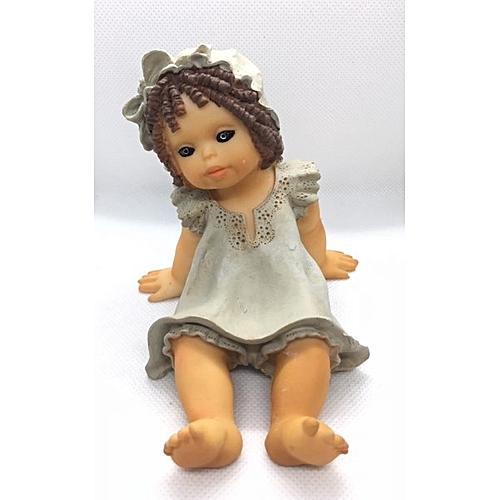 Figurine : Girl In Blue Sleeping Gown Relaxing On Floor